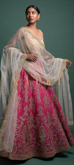 Rani pink lehenga in raw silk. Adorned with zari, resham, zardozi, sequins and cut dana embroidered heritage kalidar pattern. Pink Bridal Lehenga, Pink Lehenga, Wedding Function, Reception, Gown, Outfit Ideas, Sari, Sequins, Indian