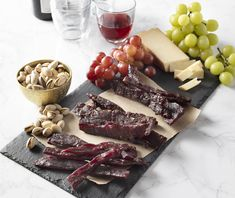 Wine Infused All Natural Beef Jerky (P/N 34352). Made from 100% USDA Certified beef with all-natural ingredients and NO sodium nitrates, this special trio offers 3 popular flavors, each marinated in local wine from California, Oregon and Washington. Each flavor is separately packaged in a vacuum-sealed 4 ounce bag.