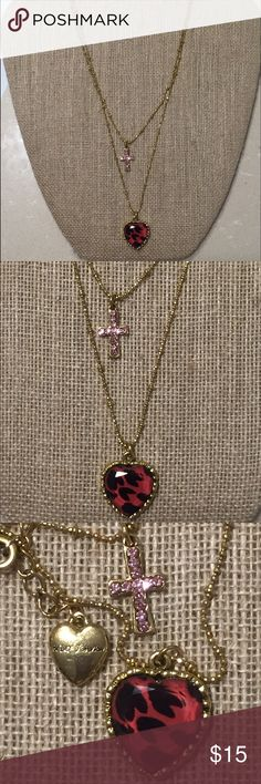 Betsey Johnson layered heart and cross necklace Worn a few times but still in excellent preowned condition. Betsey Johnson Jewelry Necklaces