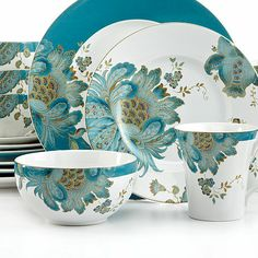 I would decorate my dining room around these! 222 Fifth Dinnerware, Eliza Teal 16 Piece Set - Casual Dinnerware - Dining & Entertaining - Macy's Teal Dinnerware, 222 Fifth Dinnerware, Casual Dinnerware, Dish Sets, Dinner Sets, China Patterns, Decoration Table, Tea Pots, Tableware