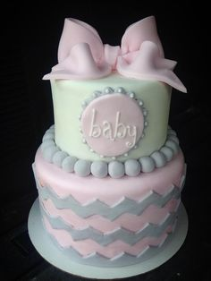love this cake... without the chevron pattern and maybe a pearl color instead of grey