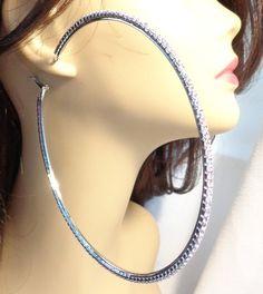 LARGE CRYSTAL HOOP Earrings Silver Tone 4.5 inch Rhinestone hoops Rhodium Plated Hoop Earrings