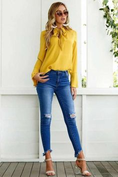 New mustard yellow long sleeve sexy bow tie casual blouse women elegant shirt Casual Work Outfits, Mode Outfits, Work Casual, Summer Outfits, Fashion Outfits, Casual Shirt, Women's Casual, Spring Outfits Classy, Bluse Outfit