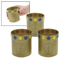 Knight's Party Plastic Mugs :  Why not fill these colourful cups with lollies or small toys for a great party gift at your medieval, castle of regal birthday party.  Plastic.  7.62 cm