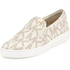 MICHAEL Michael Kors Keaton Logo-Print Slip-On Sneaker ($105) ❤ liked on Polyvore featuring shoes, sneakers, vanilla, pull on shoes, round cap, michael michael kors shoes, slipon shoes and stretch shoes
