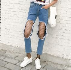 7a17d5c000b06 2017 Summer New Fashion Denim Solid Ripped Hollow Out Harajuku Vintage  Casual Pencil Skinny Women High Waist Jeans Stretch Pants