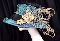 Black and teal embroidered silk ivory curled feather and vintage gold Kentucky derby hat on Etsy, $89.00