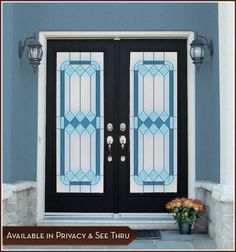The Cambridge Film is an artistic stained glass design with lovely tones of blue. This blue stained glass window film is available in both a privacy design on a