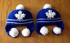 Crochet Toronto Maple Leafs Hat by CreationsForSweetPea on Etsy Trendy Baby Boy Clothes, Crochet Baby Clothes, Crochet Baby Hats, Crocheted Hats, Baby Boy Crochet Blanket, Crochet Blanket Patterns, Crochet Blankets, Knitting Patterns, Hockey Girls