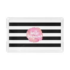 Hello Gorgeous Black Stripe & Pink Watercolor Rectangle Serving Trays