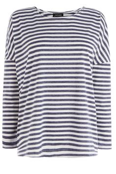 All | Blue STRIPE DROP SLEEVE TOP | Warehouse