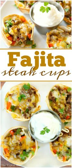 Delicious steak fajita cups that are an awesome appetizer or muffin tin meal idea! Simple recipe you can throw together and they're to die for!! via @thetypicalmom