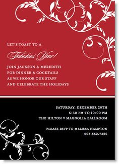Floral Vine on Red and Black Invitations by IB Designs - Invitation Box