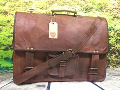 Large Leather Messenger Bag / Satchel / Briefcase - Retro / Vintage Hand Crafted