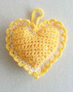Best Free Crochet » Free Crochet Pattern Heart Sachet #74