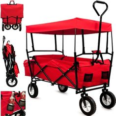 Garden Trolley Cart Folding Transport Hand Truck Trailer Utility Cart 100kg Removable Roof - Model 2016