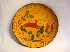 Greg Shooner Redware Pottery Plate Dated 2000, sgraffito decorated