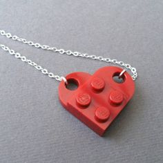 Valentine heart Lego necklace.
