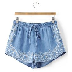 Blue Printed Elastic Waist Vintage Shorts (120 RON) ❤ liked on Polyvore featuring shorts, elastic waistband shorts, loose fit shorts, loose fitting shorts, summer shorts and vintage shorts