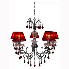 EPIPLAMEMA | ΦΩΤΙΣΤΙΚΟ 5ΦΩΤΟ SILVER/RED Ceiling, Chandelier, Decor, Home, Home Decor, Ceiling Lights