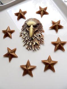 An awesomely detailed American Golden Eagle with Stars to bring in the 4th of July or to honor Dad for Fathers Day! Eagle and stars are colored in a copper and gold shimmer and can be custom scented. Total weight with stars is about 4 oz. Eagle measures 4 1/4 x 3 x 1 and stars measure about 1.25. Listing is for one Eagle and eight stars. Makes a great gift for those who are patriotic, for dad, for him, or for any soldier. Comes gift boxed for him or for the 4th of July ~Enjoy!  ♛♛♛ All…