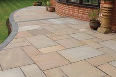 Indian Sandstone – Autumn Brown Sandstone patio 2 Indian Sandstone – Autumn Brown Sandstone Patio 2 Nice summerhouse and terrace Paving Stone Patio, Outdoor Paving, Patio Slabs, Garden Paving, Patio Flooring, Brick Patios, Terrace Garden, Garden Paths, Patio Ideas Ireland