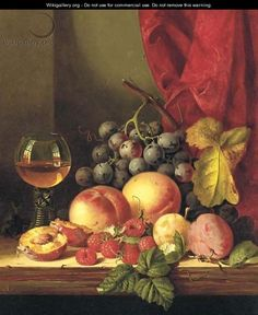Still life with plums, peaches, black grapes, raspberries, and a roemer - Edward Ladell