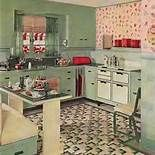 love the busyness of the floor and wall  1930's kitchen pictures - Bing Images