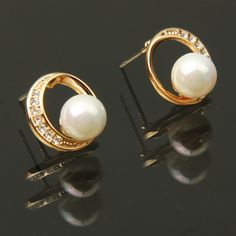 Circular with Pearl Style Charming Rhinestone Pendant Ear Drop Earrings / Ear Pendants Jewelry