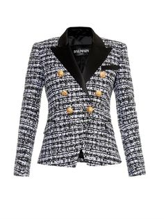 Balmain Satin-lapel tweed blazer on shopstyle.com