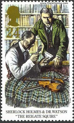 Detective Fiction on Stamps: Great Britain - Sherlock Holmes Sherlock Holmes, Moriarty, Detective, Uk Stamps, Arthur Conan Doyle, Sir Arthur, Postage Stamp Art, Illustration, Penny Black
