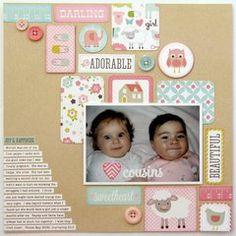 An Echo Park Bundle of Joy Baby Girl Layout by Mendi Yoshikawa Baby Girl Scrapbook, Baby Scrapbook Pages, Birthday Scrapbook, Scrapbook Journal, Scrapbook Page Layouts, Scrapbook Paper Crafts, Diy Scrapbook, Scrapbook Supplies, Scrapbooking Ideas