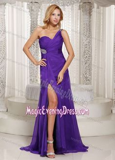 One Shoulder Beading Ruched Slit Brush Train Dresses for Evening