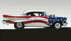 So American - Red, White and Blue Chevy With Stars and Stripes Vintage Cars, Antique Cars, Vintage Room, Vintage Ideas, Automobile, Toyota, 1957 Chevrolet, Chevrolet Trucks, Chevrolet Impala