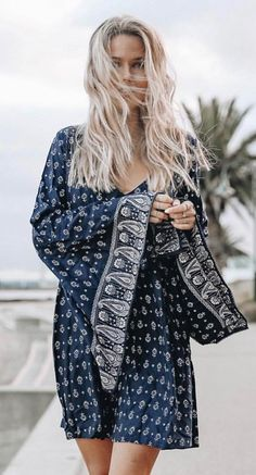 #fall #outfits  Navy Printed Dress