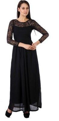c12e54feb Hugo Chavez Women s Maxi Dress - Buy Black Hugo Chavez Women s Maxi Dress  Online at Best Prices in India