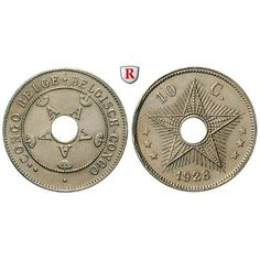 Belgisch-Kongo, Albert I., 10 Centimes 1928, vz: Albert I. 1909-1934. Kupfer-Nickel-10 Centimes 1928. KM 18; vorzüglich, Rdf. 15,00€ #coins