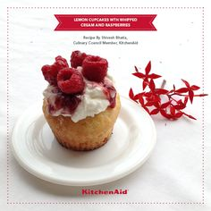 Lemon Cupcakes contain a small pocket of lemon zest with Whipped Cream and Raspberries. This recipe is easy to make; soft, spongy and great for beginners. ... Or those with a sweet tooth!  #KitchenAidRecipes  #DeliciousRecipes