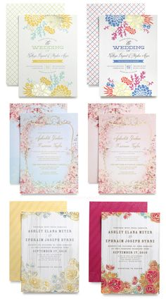 Wedding paper divas gold foil stamped wedding invitation cards pastel colors gold stamping. I like the bottom two the most.