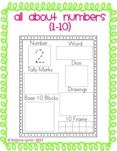 Help students show how numbers can be represented in multiple ways. Included are worksheets for the numbers 1-10.