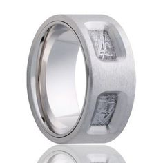 COMET Cobalt Band with Meteorite Inlay | 8mm – TCRings.com