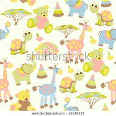 "BB ""Little Zoo"" : Teddy bears, animals and trees comprise this charming seamless mural that'll have your child feeling blessed."