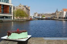 Mint Chocolate Chip Cake with a view of Leith in Edinburgh, Scotland