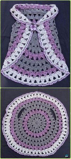 DIY Crochet Circle Block Vest Free Pattern -Crochet Little Girl Circle Vest Sweater Coat Free Patterns #crochetdolls