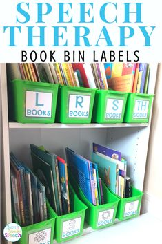 SLP ORGANIZATION- love using books in speech therapy but don't know how to organize them in your speech room? These labels will help you! Speech Therapy Organization, Book Organization, Classroom Organization, Classroom Ideas, Speech Language Pathology, Speech And Language, Book Bin Labels, Play Therapy Techniques, Speech Room