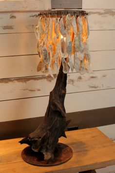 Oyster Shell Lamp by driftalonglamps on Etsy, $350.00