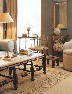 Layered sisal and Tibetan rug