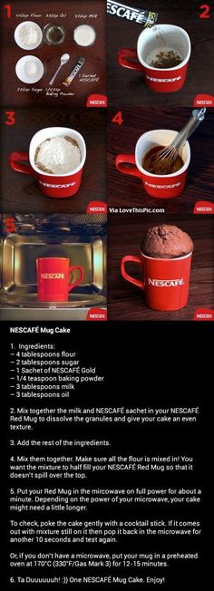 How To Make A NESCAFÉ Mug Cake For going down memory lane with Nescafé in all the places I've lived in the world, especially Africa. I have several of these Nescafé mugs :-) gifting cup with mug cake recipe Mug Recipes, Coffee Recipes, Sweet Recipes, Cake Recipes, Dessert Recipes, Cooking Recipes, Cooking Cake, Microwave Cake, Microwave Recipes