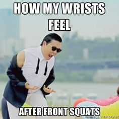 Great work today! The great thing about front squats is that it engages almost everything from the core down and it is a critical aspect to your clean. Memes Crossfit, Squat Memes, Crossfit Motivation, Workout Memes, Gym Memes, Funny Memes, Fitness Memes, Funny Gym, Gym Fitness