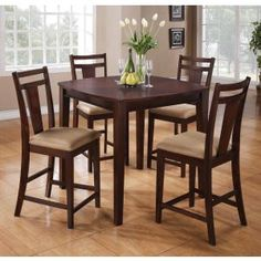 5-Pc Espresso Counter Height Dining Set by Coaster Fine Furniture - 150159